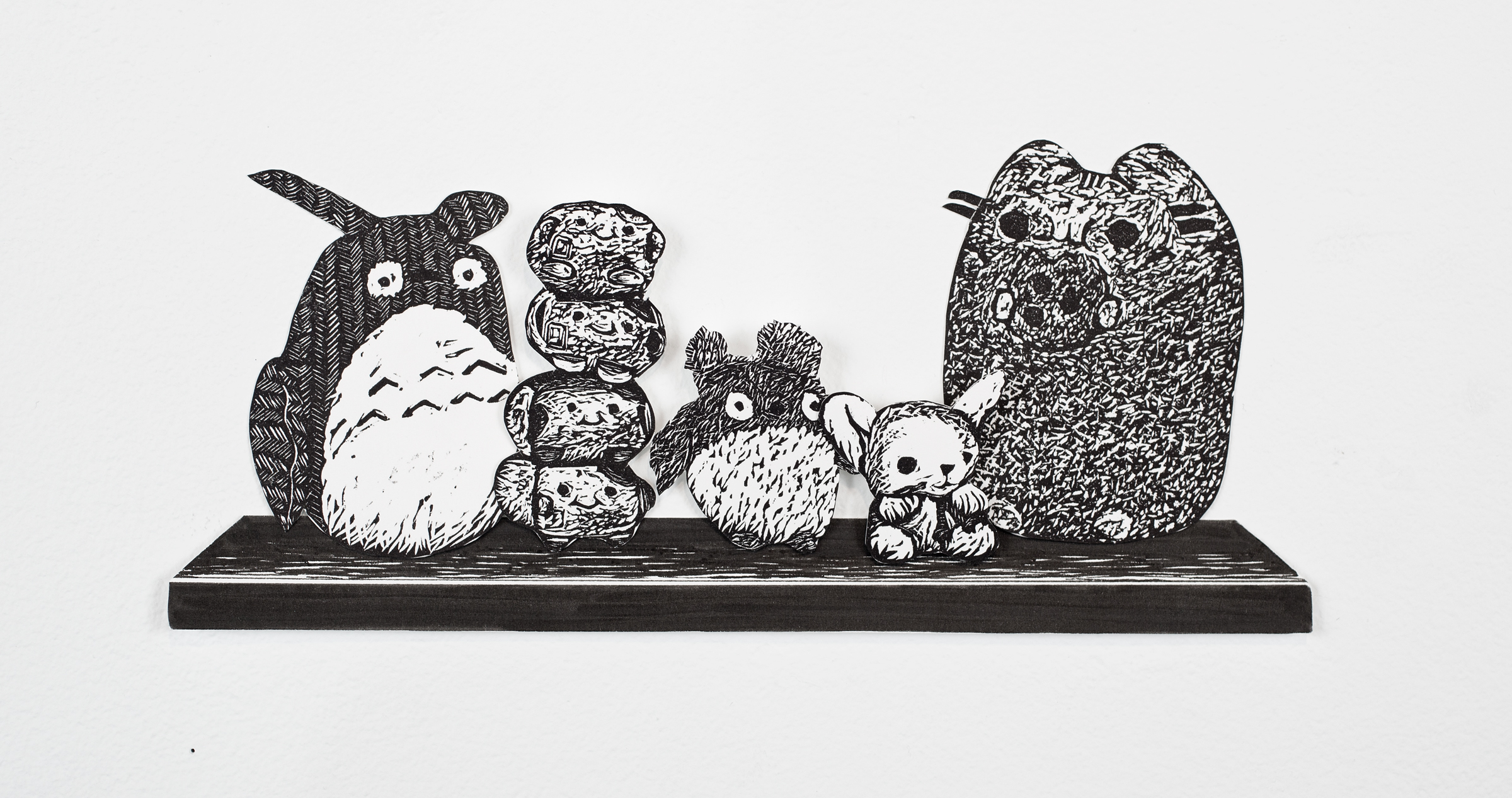 """""""Stuffed Animals on Shelf"""", shelf is pen drawing, objects are linoleum relief, 4x7. Each piece is hand cut out with Xacto."""