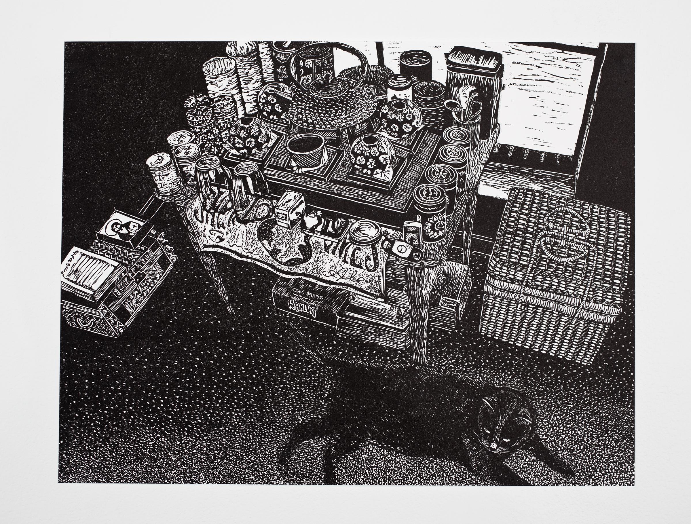 """Tea Time"", linoleum relief, 14x18"