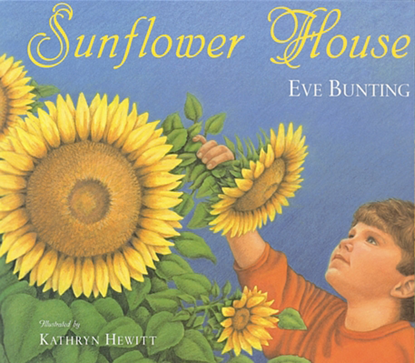 Sunflower House - Eve Bunting, illustrated by Kathryn HewittHoughton Mifflin Harcourt 1999Sunflower seeds sewn in a circle--and watered, weeded, and watched--eventually grow into a beautiful sunflower house with lots of room inside for three friends and their imaginations. When summer's over and the sunflowers fall, the friends save seeds to plant next spring.