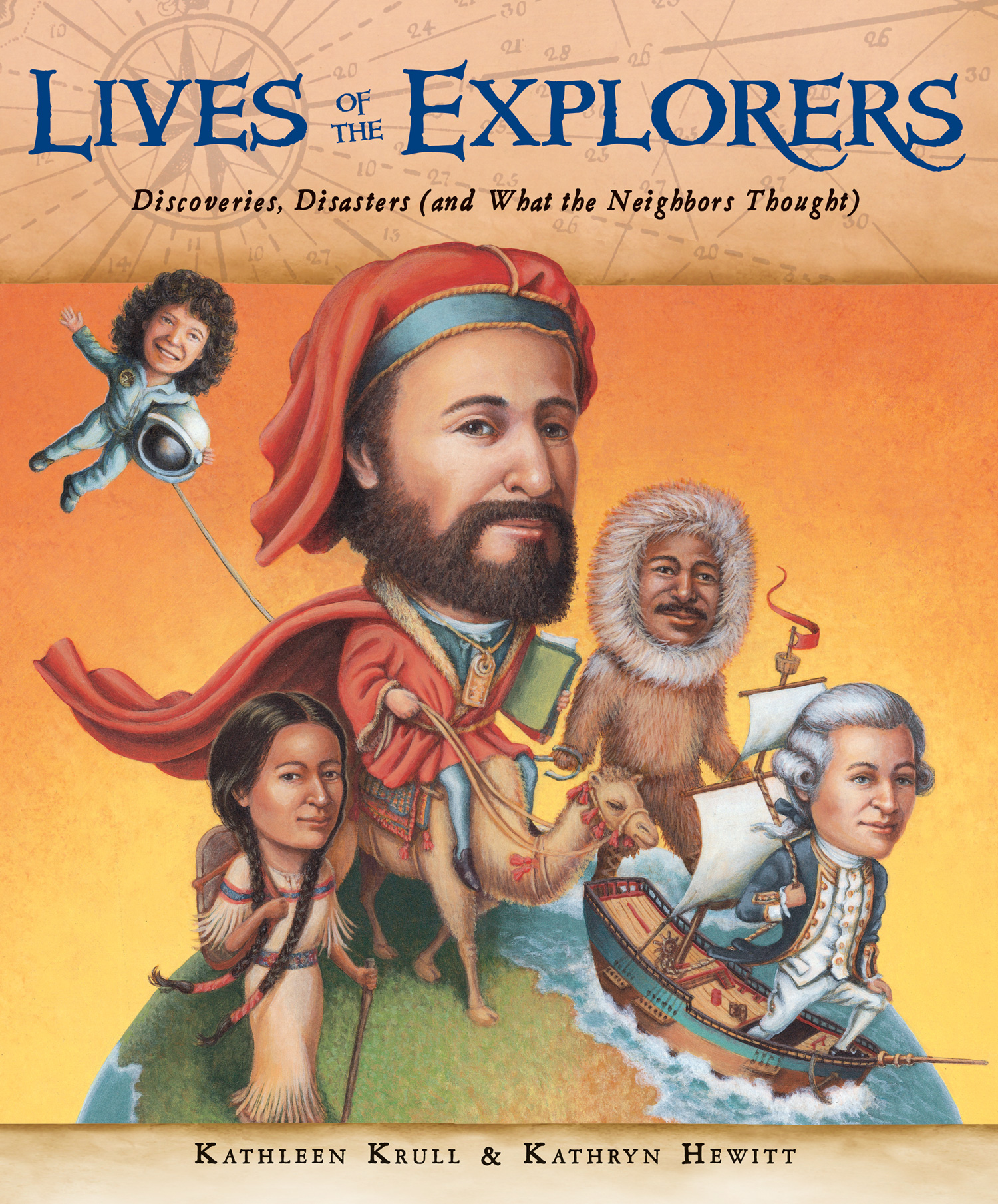 Lives of the Explorers: Discoveries, Disasters (and What the Neighbors Thought) - Kathleen Krull, illustrated by Kathryn Hewitt       Houghton Mifflin Harcourt 2014You might know that Columbus discovered America, Lewis and Clark headed west with Sacajawea, and Sally Ride blasted into space. But what do you really know about these bold explorers? What were they like as kids? What pets or bad habits did they have? And what drove their passion to explore unknown parts of the world? With juicy tidbits about everything from favorite foods to first loves, Lives of the Explorers reveals these fascinating adventurers as both world-changers and real people.