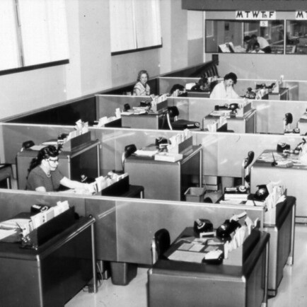 By the 1960s they had started to recognise the need for other types of spaces, introducing small private offices alongside a main work area. -