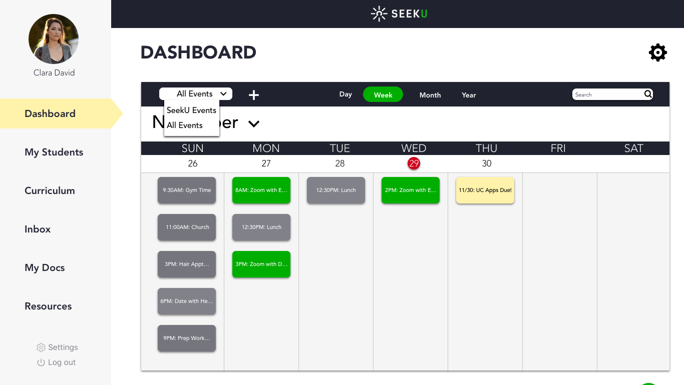 4.Medium_Educator Dashboard_All Events Week Calendar_Filter Drop Down.png