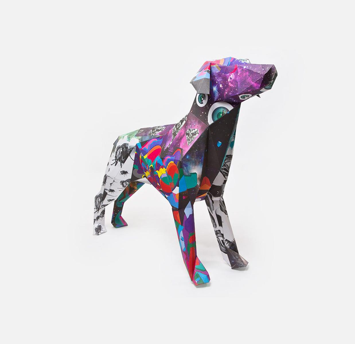 Gerald, paper dog sculpture