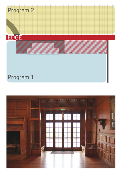 Top: Diagram illustrating program at building edge; Stonehurst, Waltham MA |  Bottom: Image of 'activated edge' at Stonehurst in Waltham, MA.