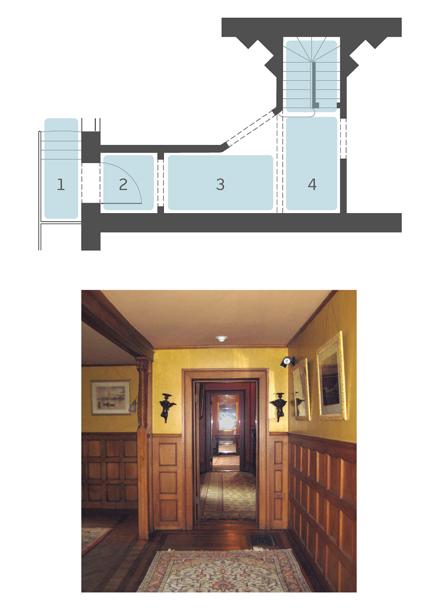 Top: Diagram illustrating sequential thresholds; Commonwealth Avenue Apts., Boston, MA Unbuilt  |  Bottom: Image of 'thresholds' at Stonehurst in Waltham, MA.