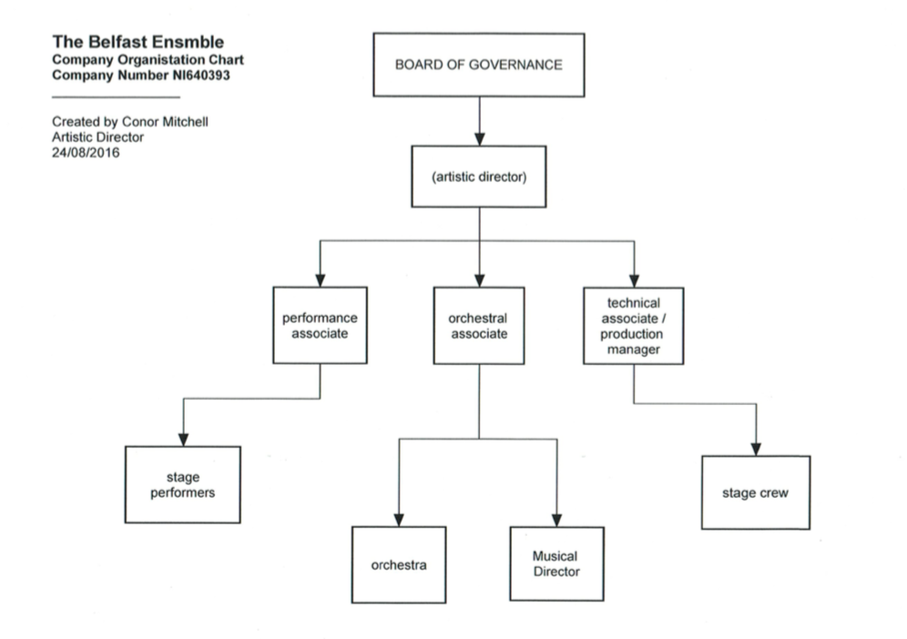 The organisational chart of THE BELFAST ENSEMBLE