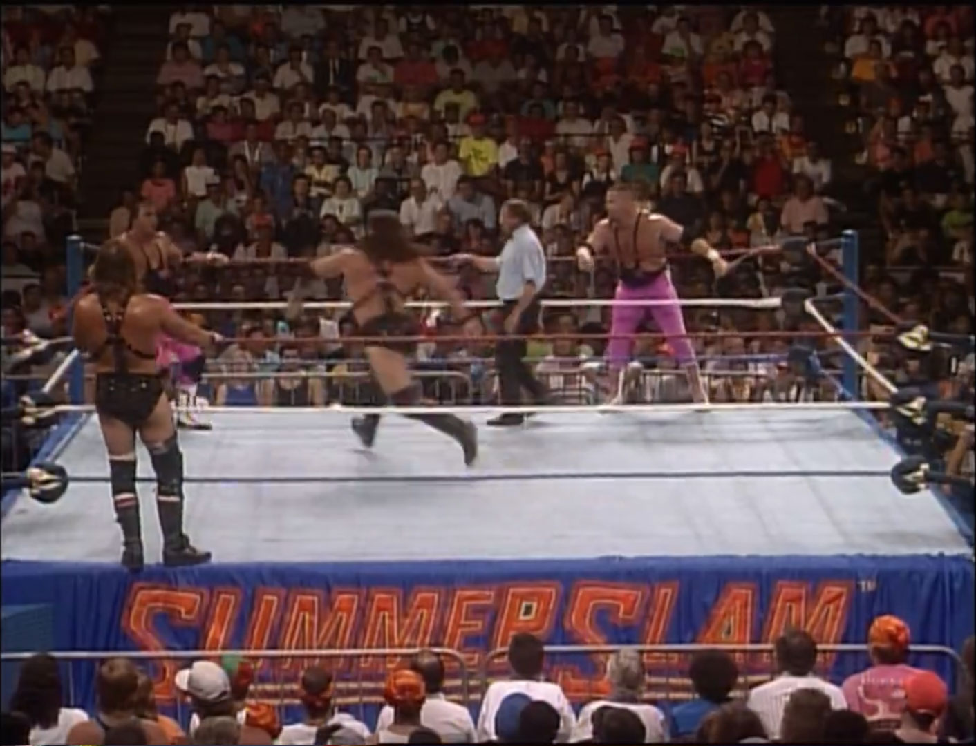 Hart Foundation vs. Demolition 2/3 Falls, WWF Tag Team Championship WWF SummerSlam 1990 Aug 27th 1990
