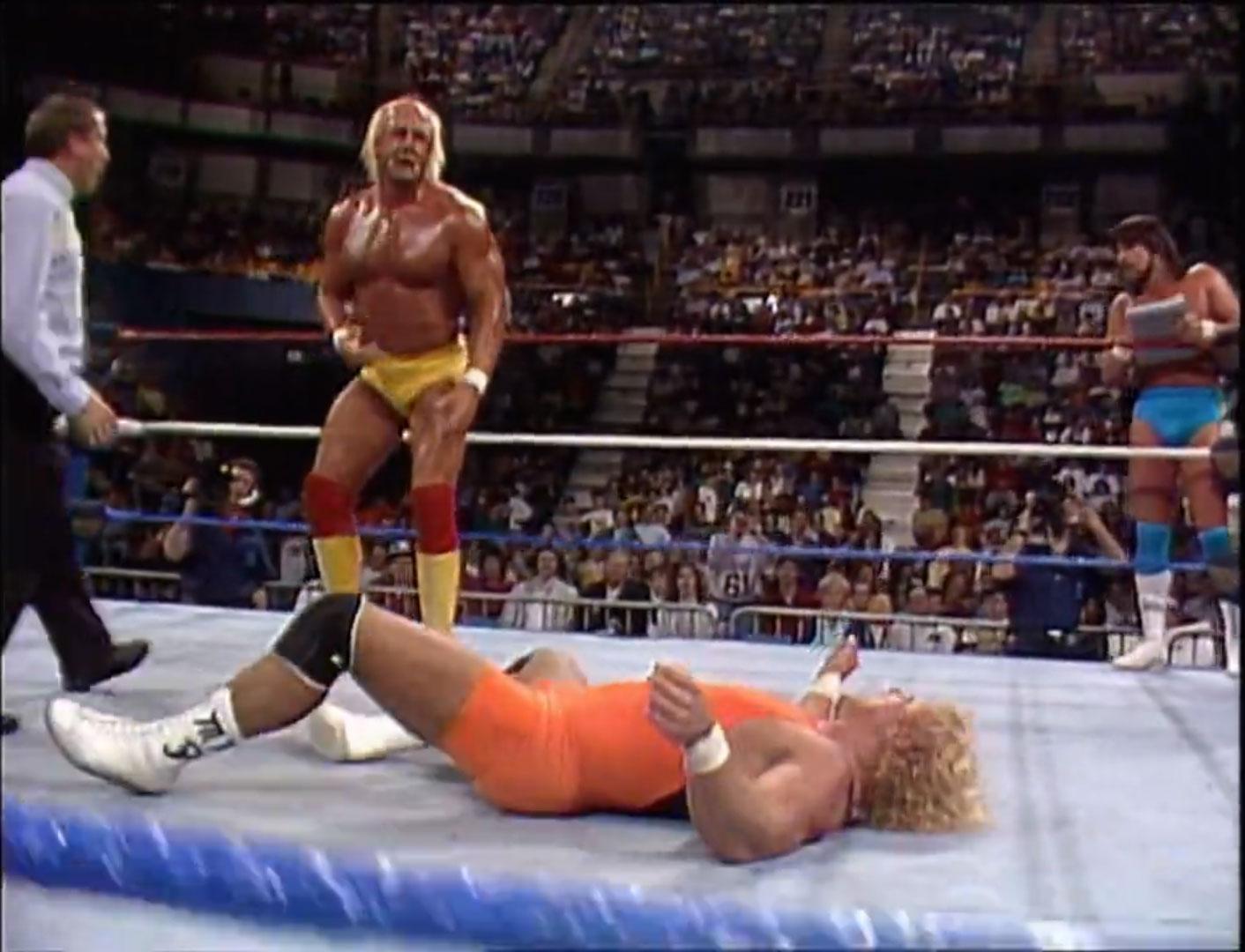Ultimate Warrior & Hulk Hogan vs. The Genius & Mr. Perfect WWF Saturday Night's Main Event Jan 3rd 1990
