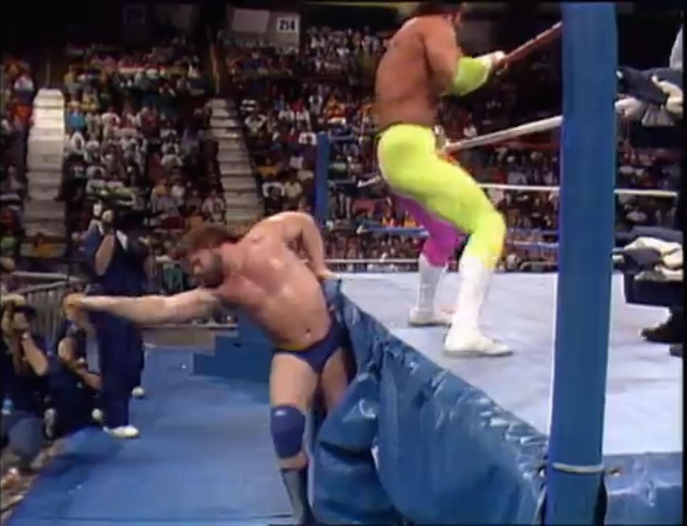 """Macho King"" Randy Savage vs. ""Hacksaw"" Jim Duggan WWF Saturday Night's Main Event Jan 3rd 1990"