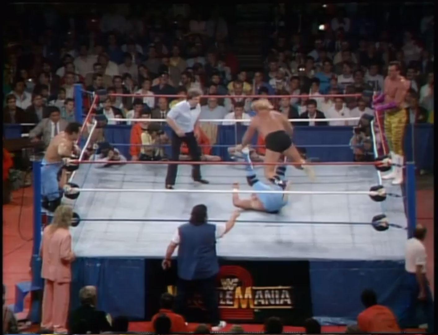 The Dream Team vs. The British Bulldogs WWF Tag Team Championship WWF WrestleMania 2, Apr 7th 1986