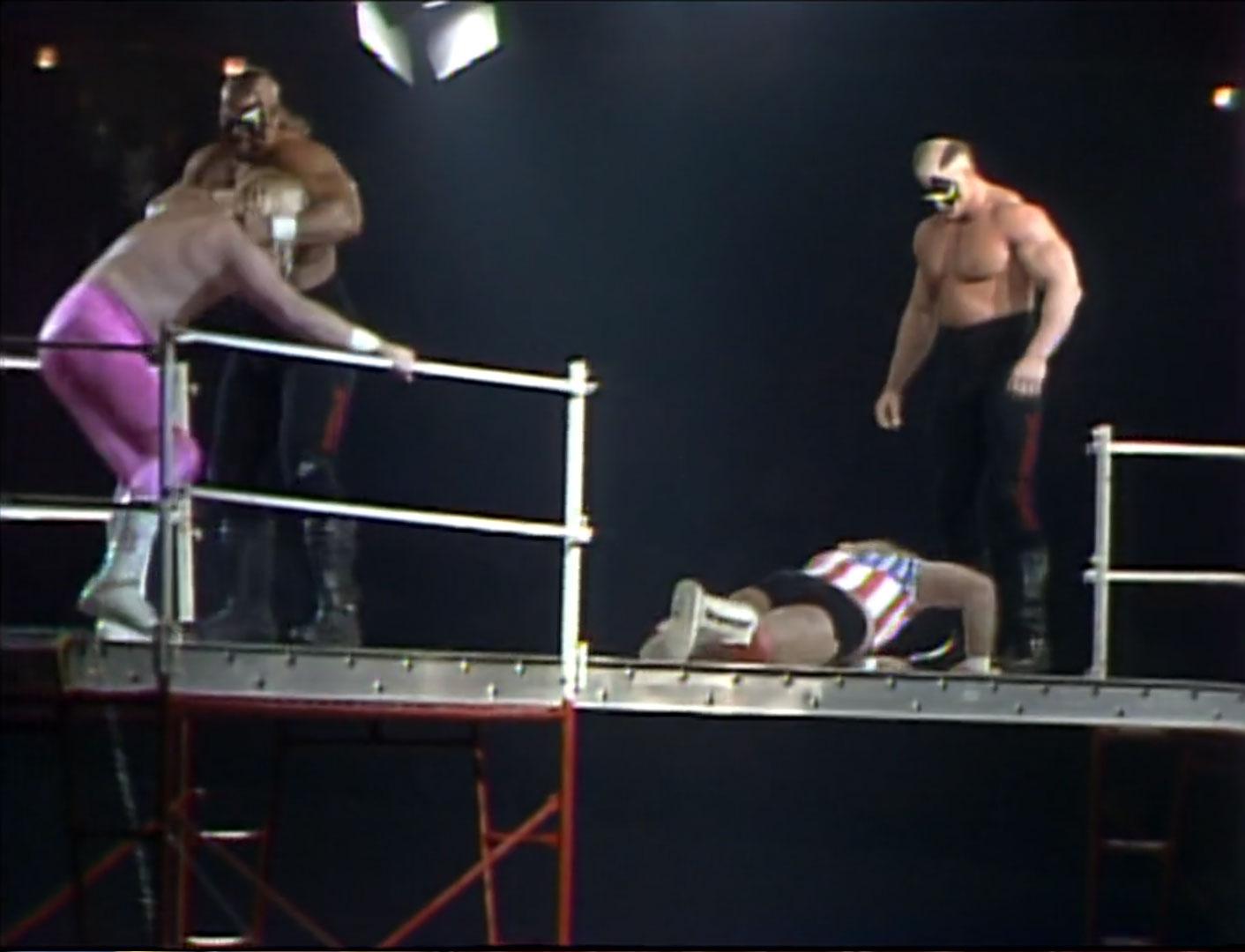 The Road Warriors vs. Midnight Express Scaffold Match, Starrcade '86, Nov 27th 1986