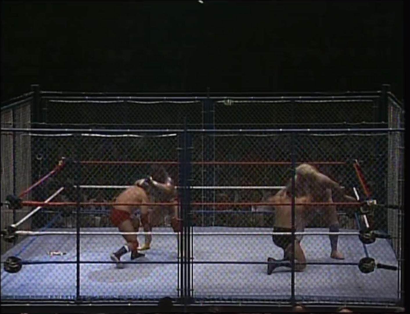Randy Savage and Adrian Adonis vs. Tito Santana and Bruno Sammartino Tag Team Cage Match December 11th 1986