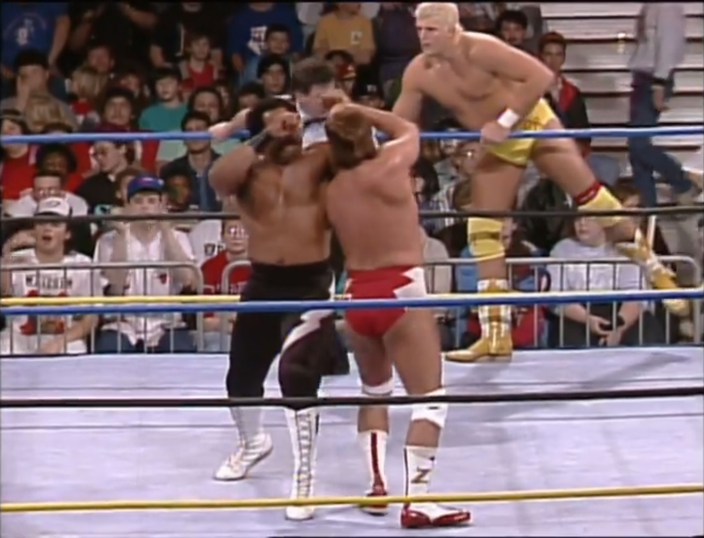 Barry Windham, Dustin Rhodes, Ron Simmons vs. Arn Anderson, Bobby Eaton, Larry Zbyszko 6-Person Tag WCW Clash of the Champions XVIII, Jan 21st 1992