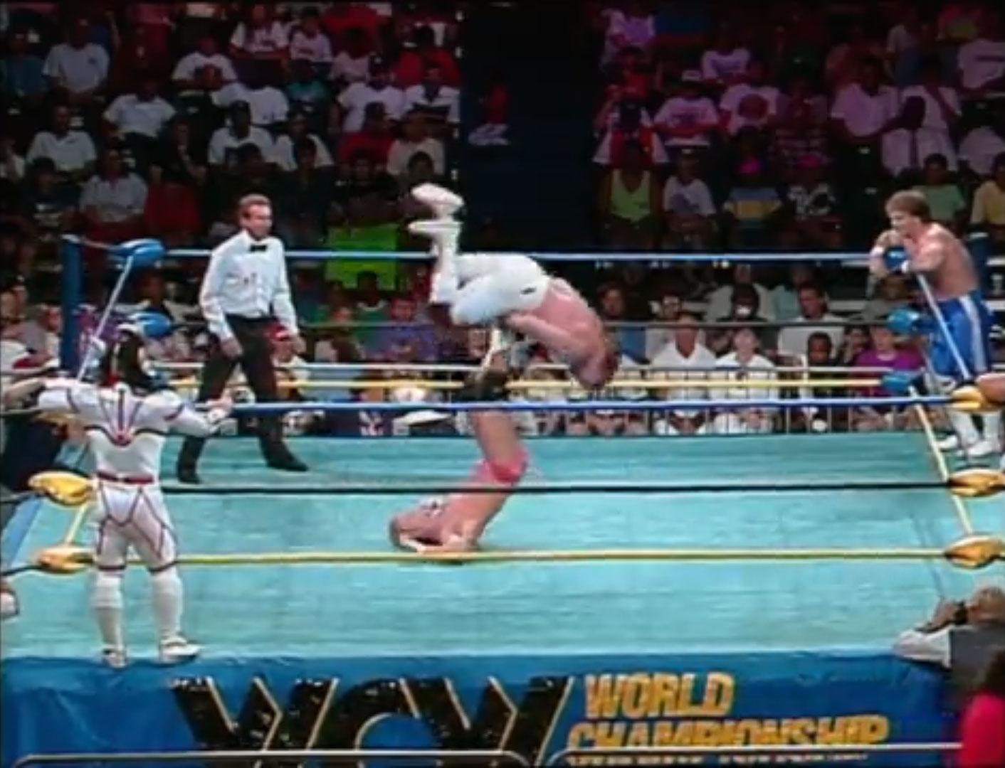 Brian Pillman, Jushin Liger vs. Biff Wellington, Chris Benoit Clash of the Champions XIX: NWA World Tag Team Title Tournament Jun 16th 1992