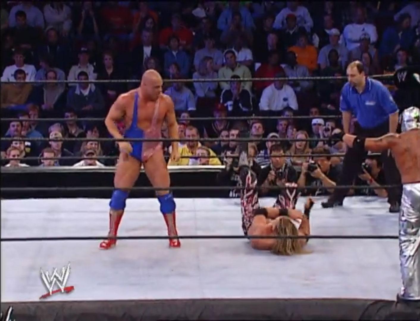 Chris Benoit, Kurt Angle vs. Edge, Rey Mysterio WWE Tag Team Championship WWE No Mercy '02, Oct 20th 2002