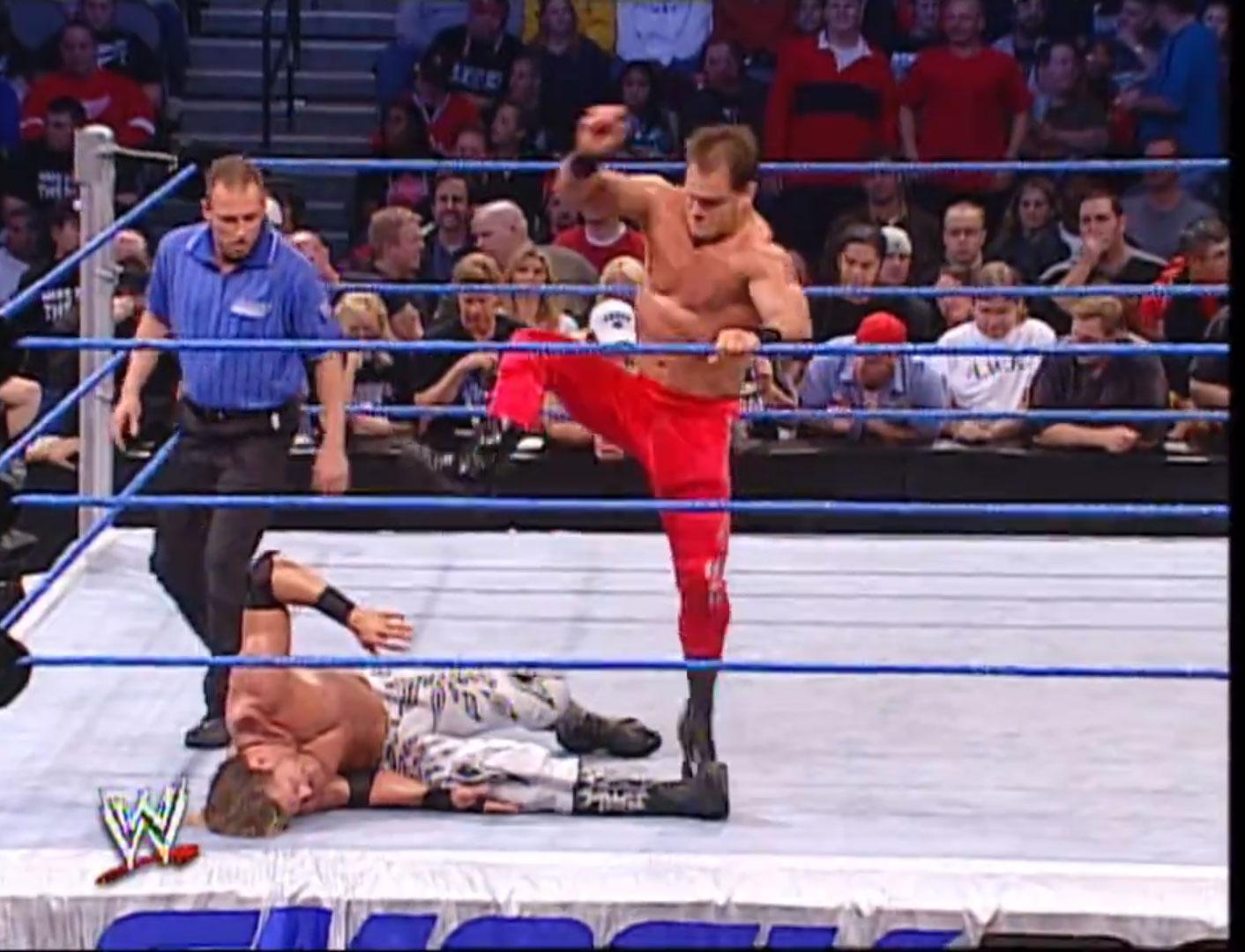 Kurt Angle vs. Chris Benoit vs. Eddie Guerrero vs. Edge Four-Way Elimination WWE Smackdown, Dec 5th 2002