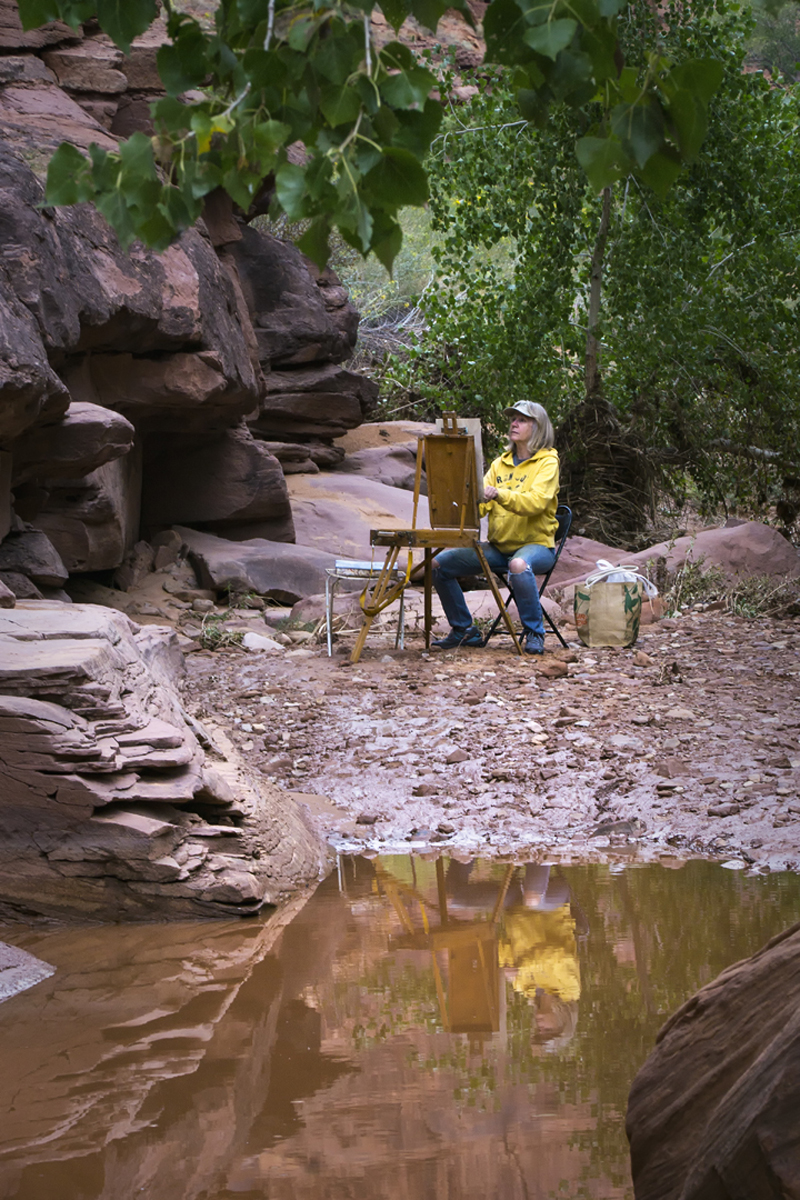 Julie painting plein aire, Hunter Canyon near Moab, Utah 2017
