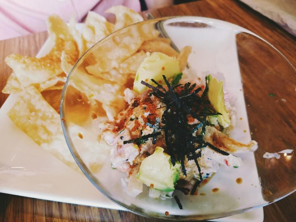 Pacific poke dish with chips