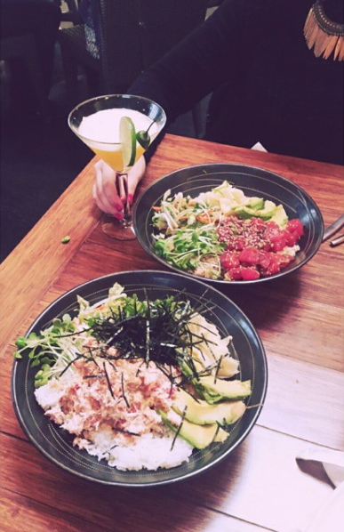"Two rice bowls, one with crab salad and one with Hawai'ian ""poke"" at the Inner Sunset location. Featuring: My girl Claire's cocktail, nails and necklace"