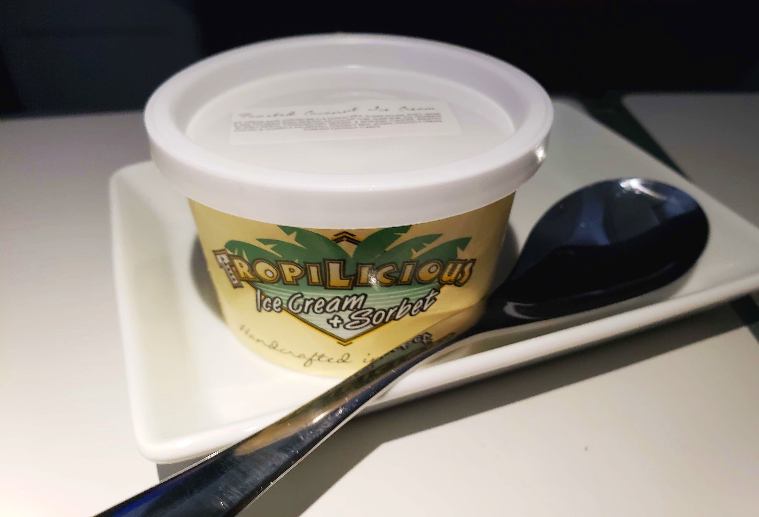 Dessert - Finally, we finished our meal with a container of coconut sorbet. It was a nice touch to our Hawai'i themed meal and refreshing on the long flight.