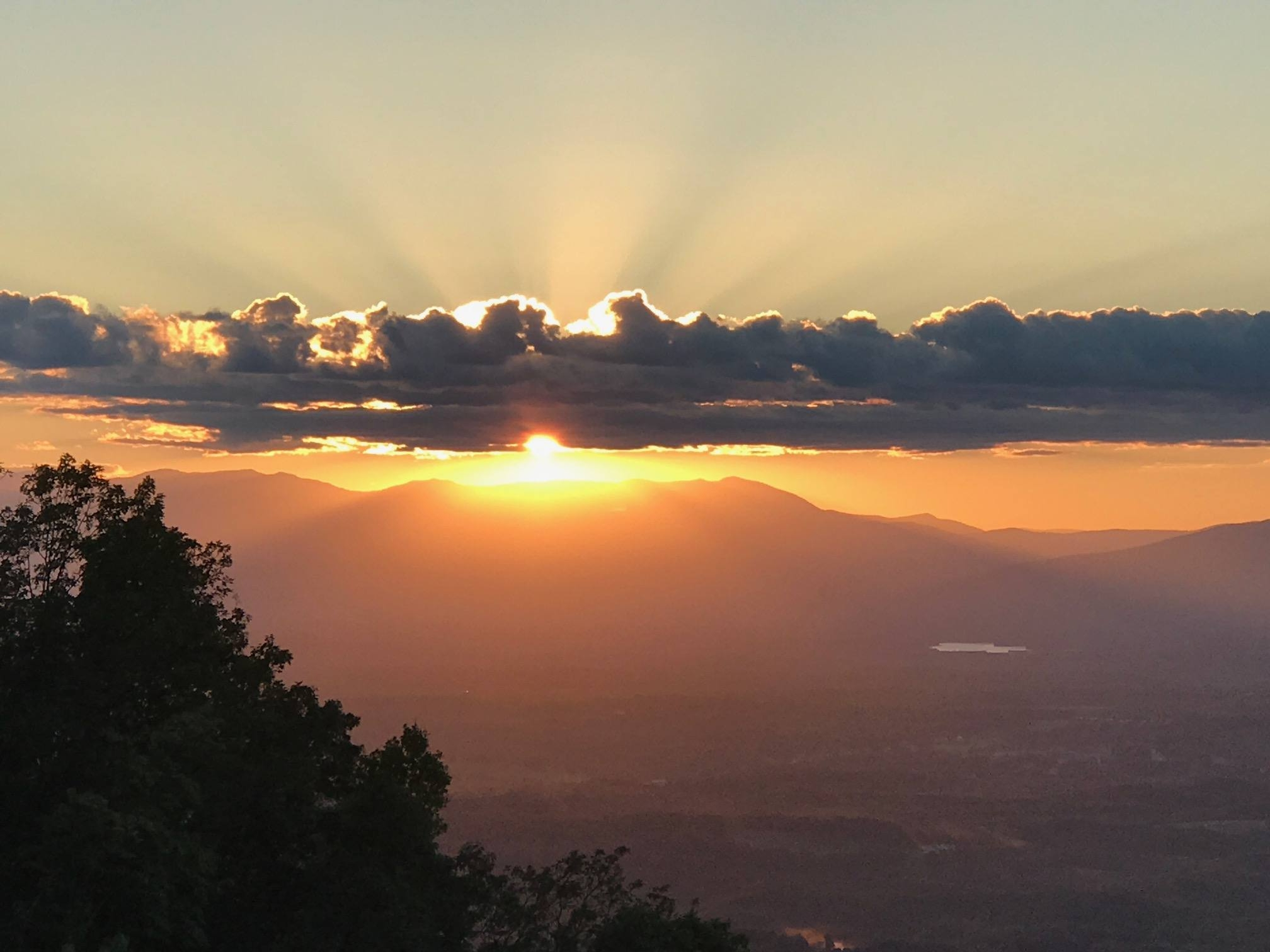 Beautiful view of sunset over Great Smoky Mountains.