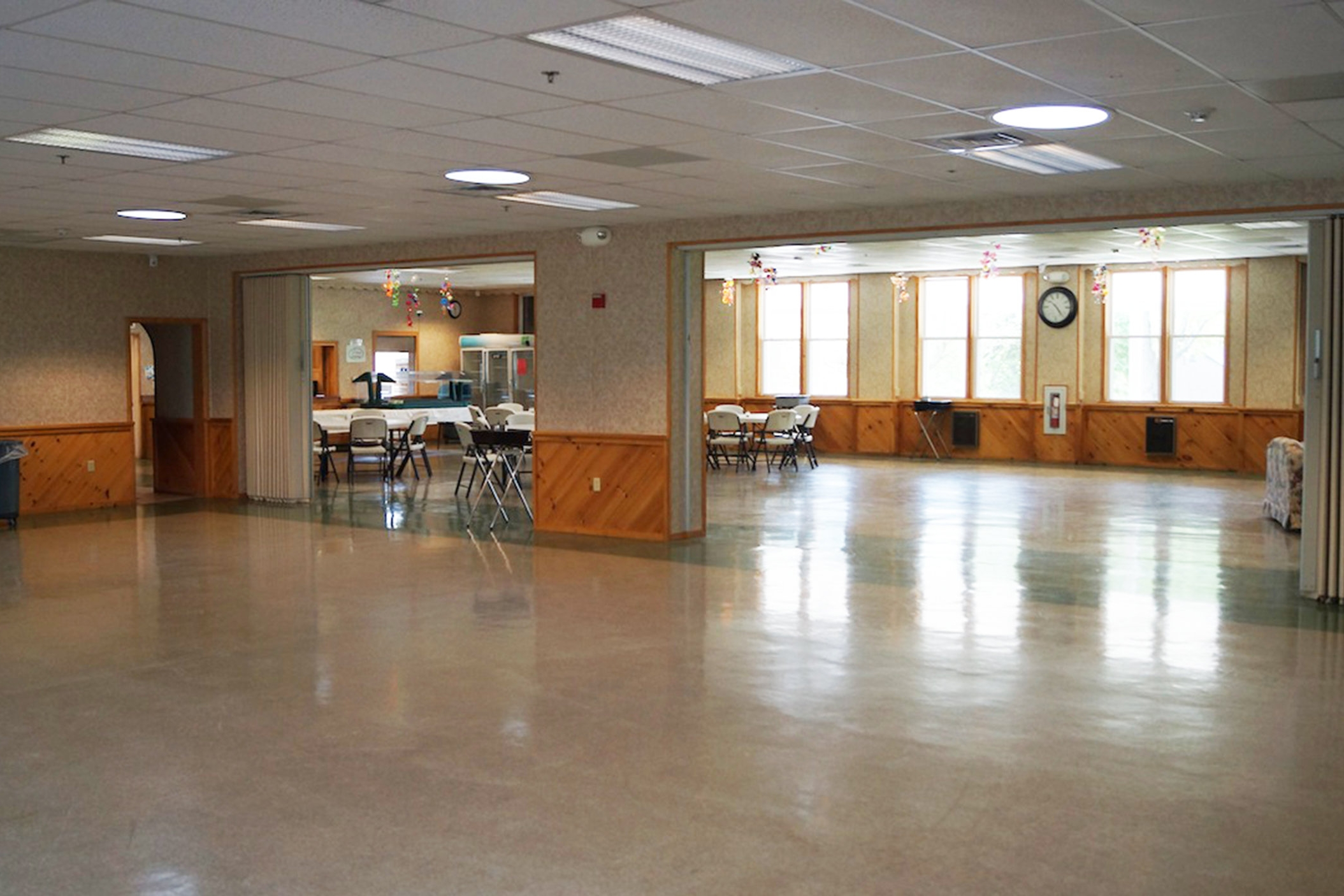 The Dining Hall at Hartman Center provides a clean and spacious location to have camp meals.