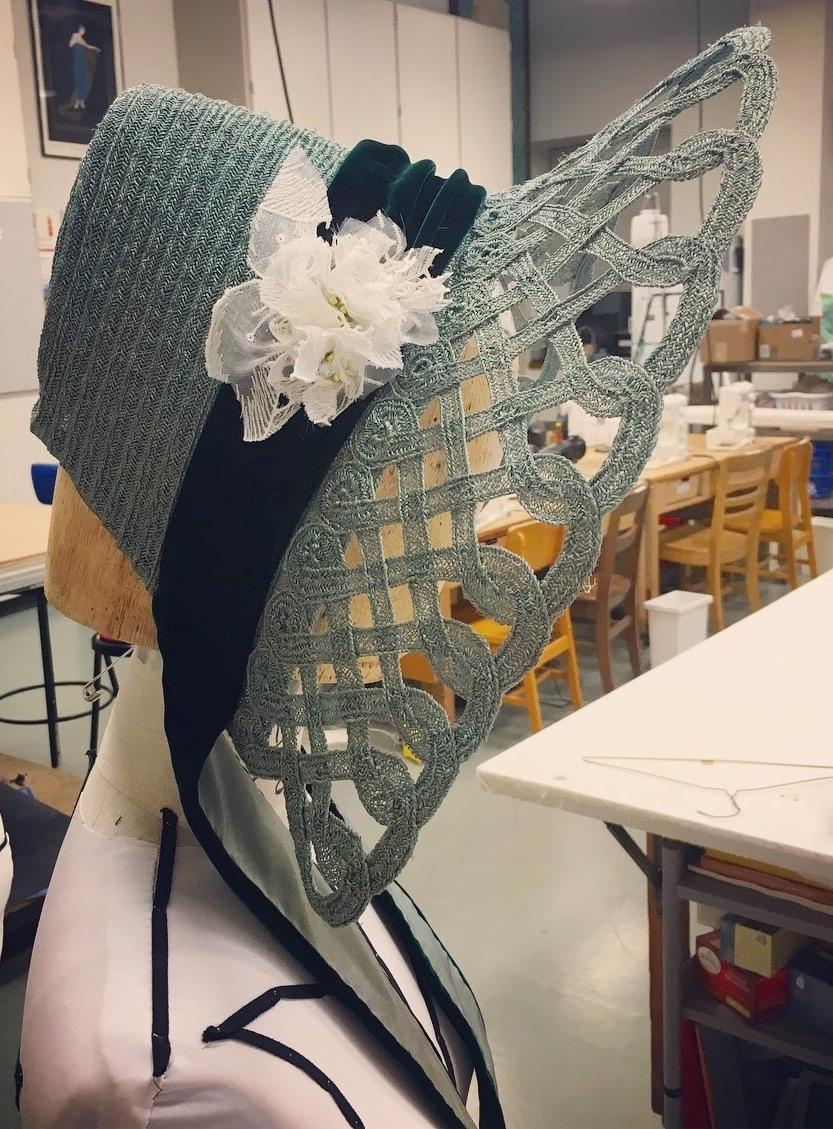 Milliner  Strip Straw Bonnet  Designer - Tessa Barlotta