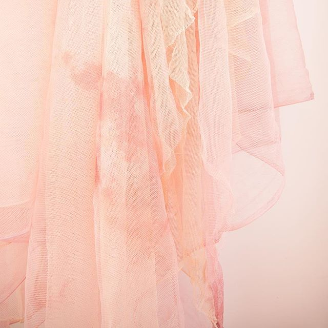 Late night inspiration in the studio! This new tapestry is two layers of hand dyed tulle - one peach and one pink 😍