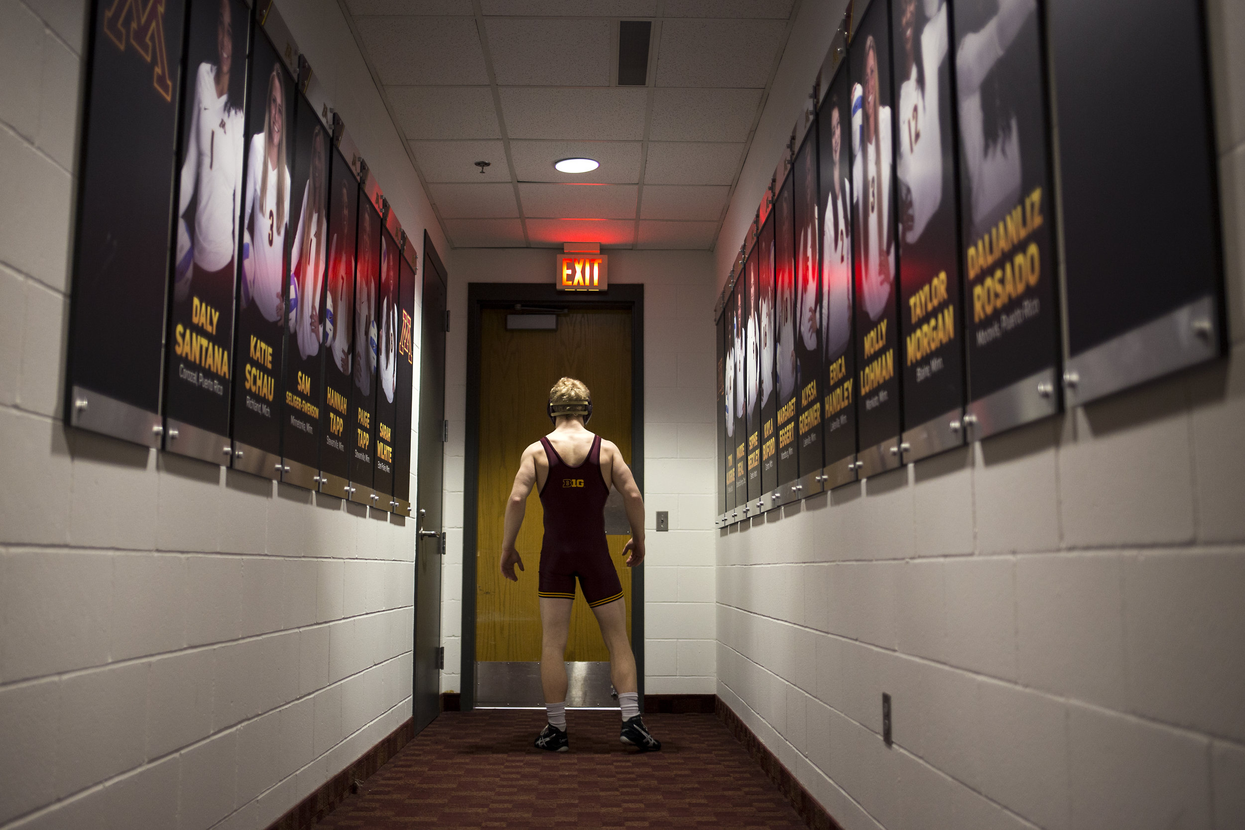 Junior Sam Brancale focuses, silently hopping between feet as he waits to compete in front of more than 2,000 fans at the Sports Pavilion.