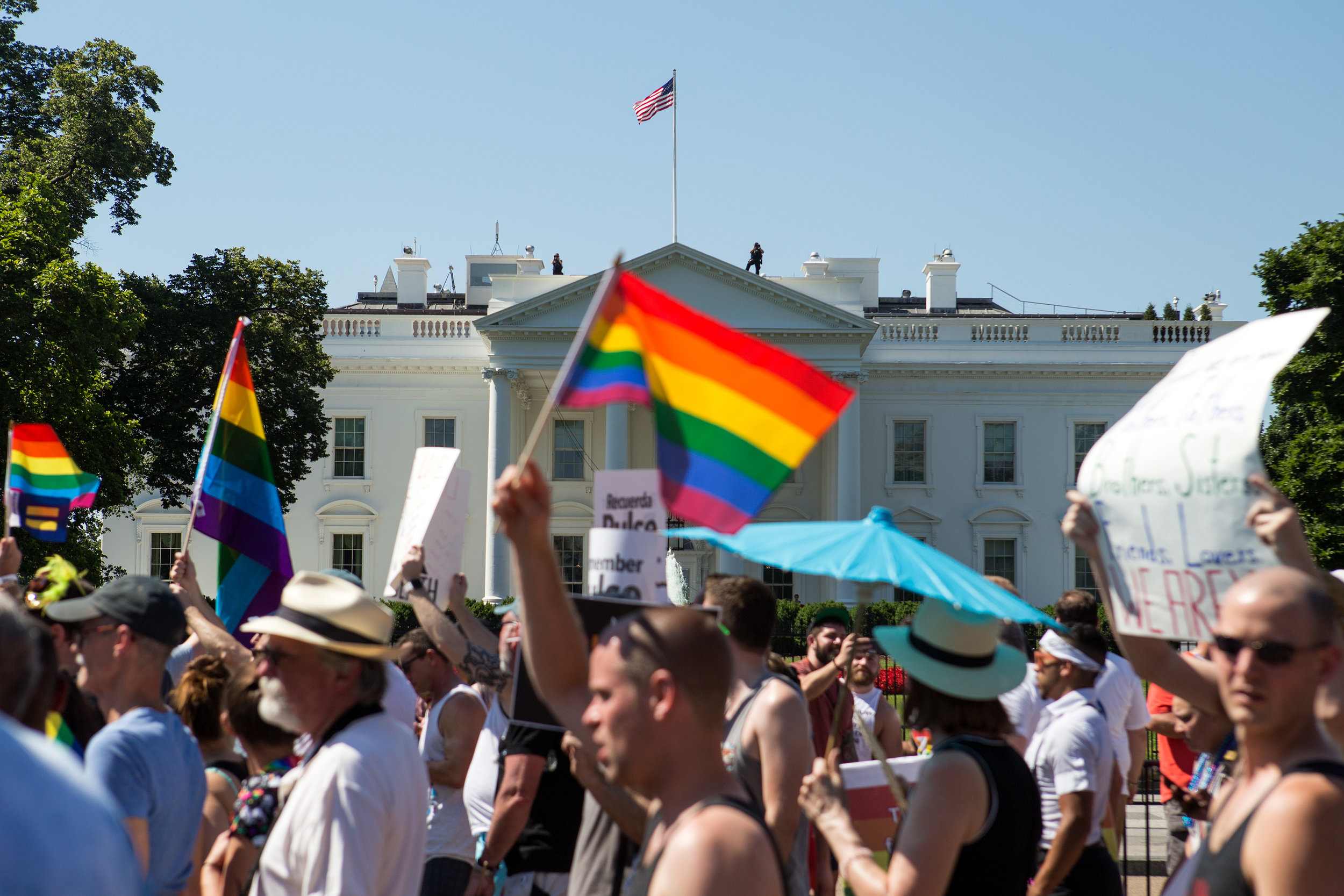 Thousands of demonstrators cross in front of The White House during the Equality March on Sunday, June 11. (Photo: Liam James Doyle/NPR)