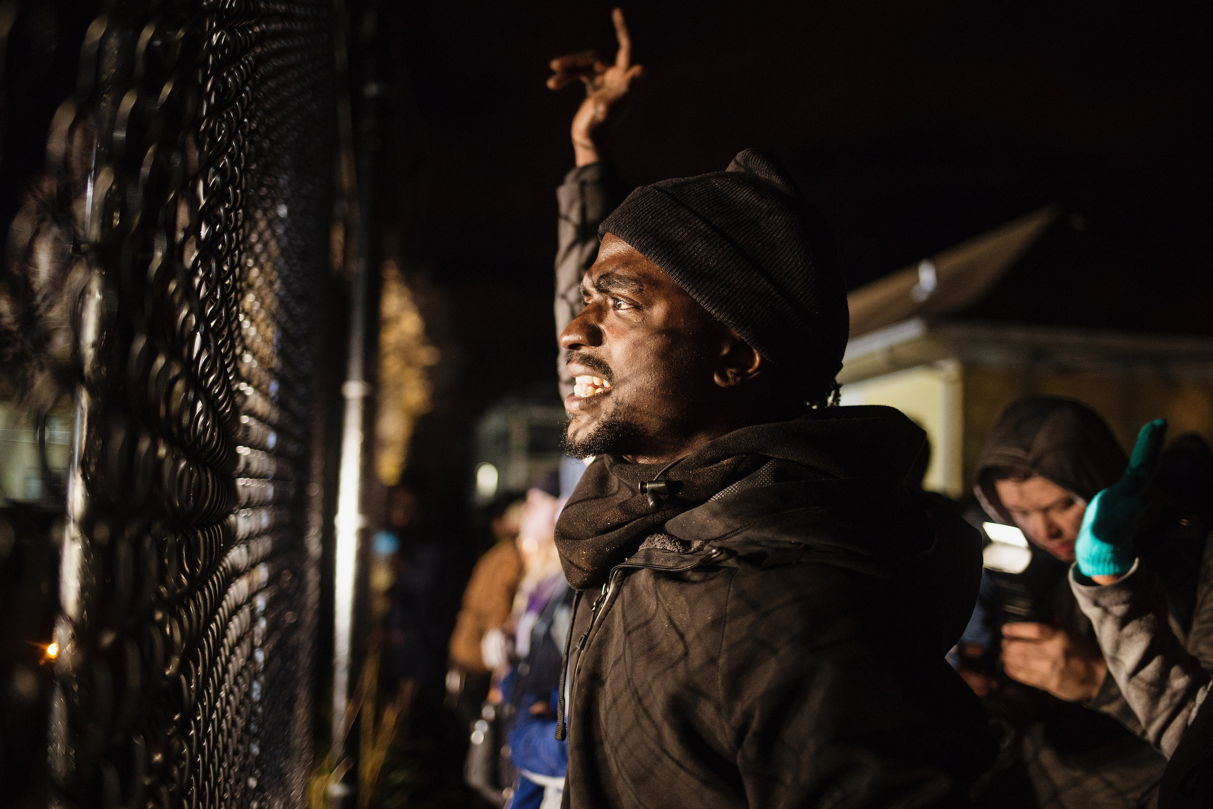 Protestors flank the back entrance at the fourth precinct on Wednesday, November 18, 2015, in Minneapolis, Minn.