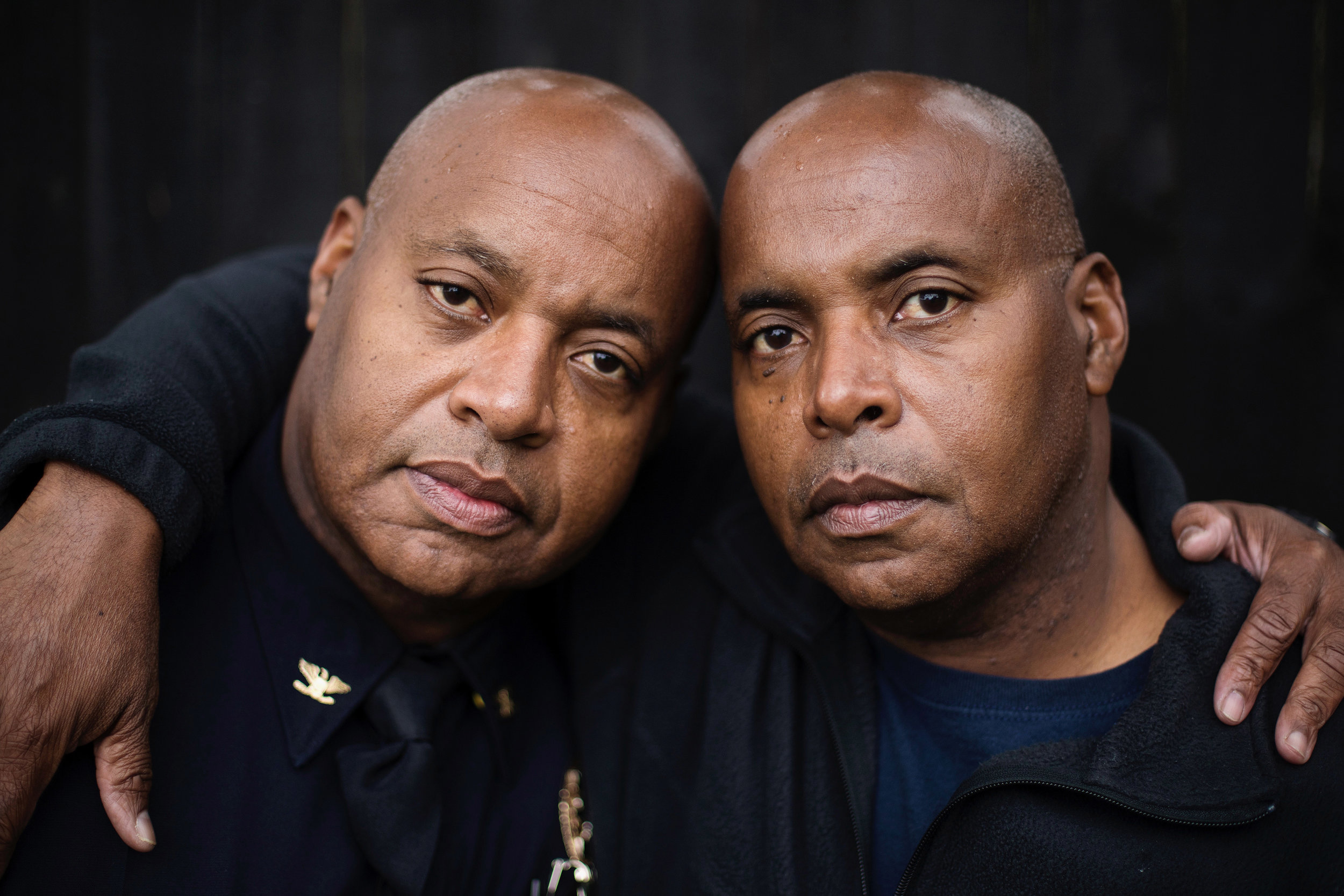 """Wayne, left, stands with his identical twin brother, Dwayne Green. """"We've been best friends for 55 years,"""" says Wayne. Dwayne, a retired Winchester police officer, is another crucial source of support for Wayne. Both like to tell a story about when they both pulled over the same woman in their respective towns within 20 minutes. The woman complained to the Mt. Sterling Police Department that she was being harassed, but was ultimately embarrassed to discover that they were, in fact different officers."""