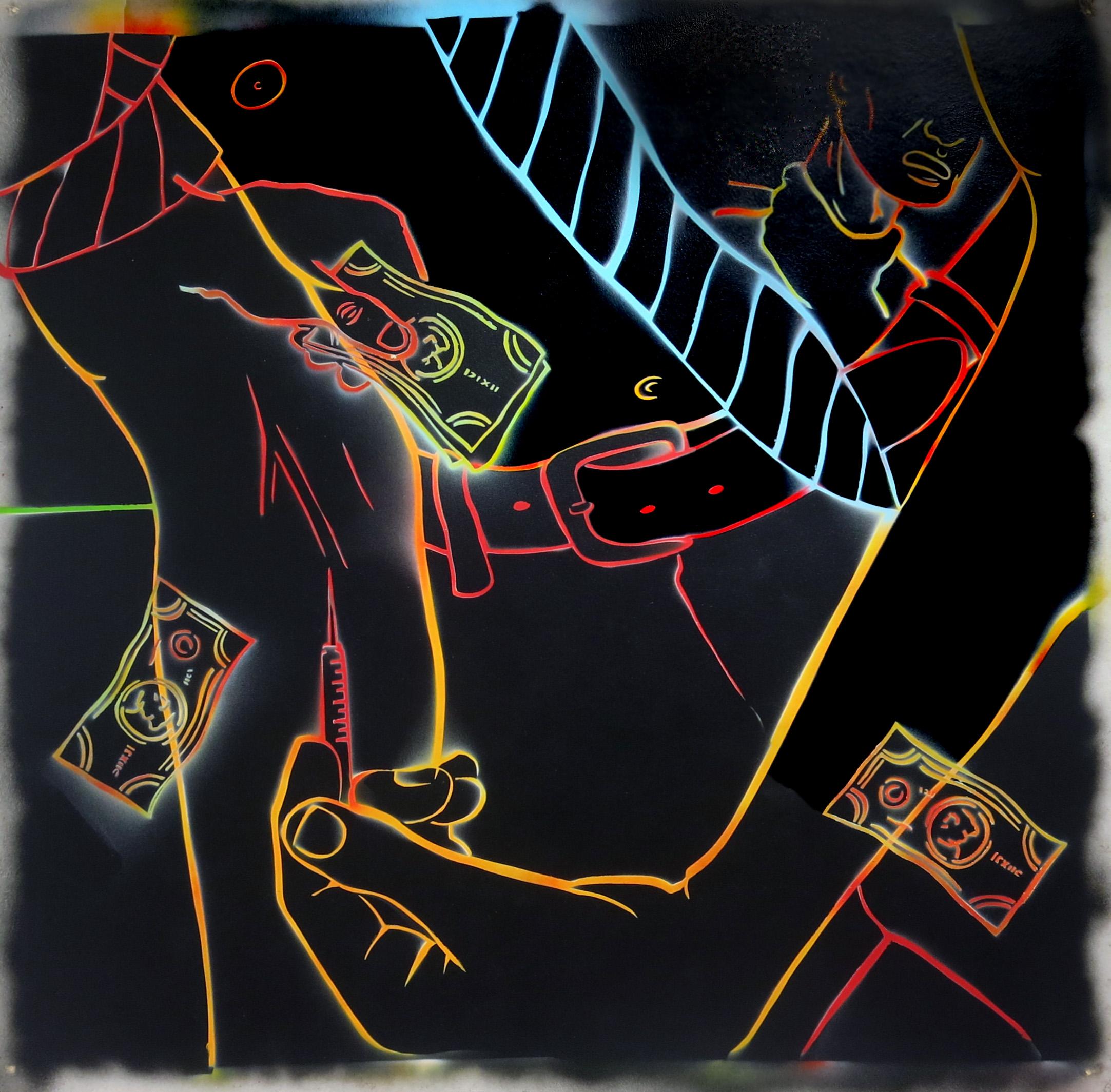 David Wojnarowicz,  Untitled (Shooting Up),  1984, enamel on masonite, 47 1/2h x 48w in.