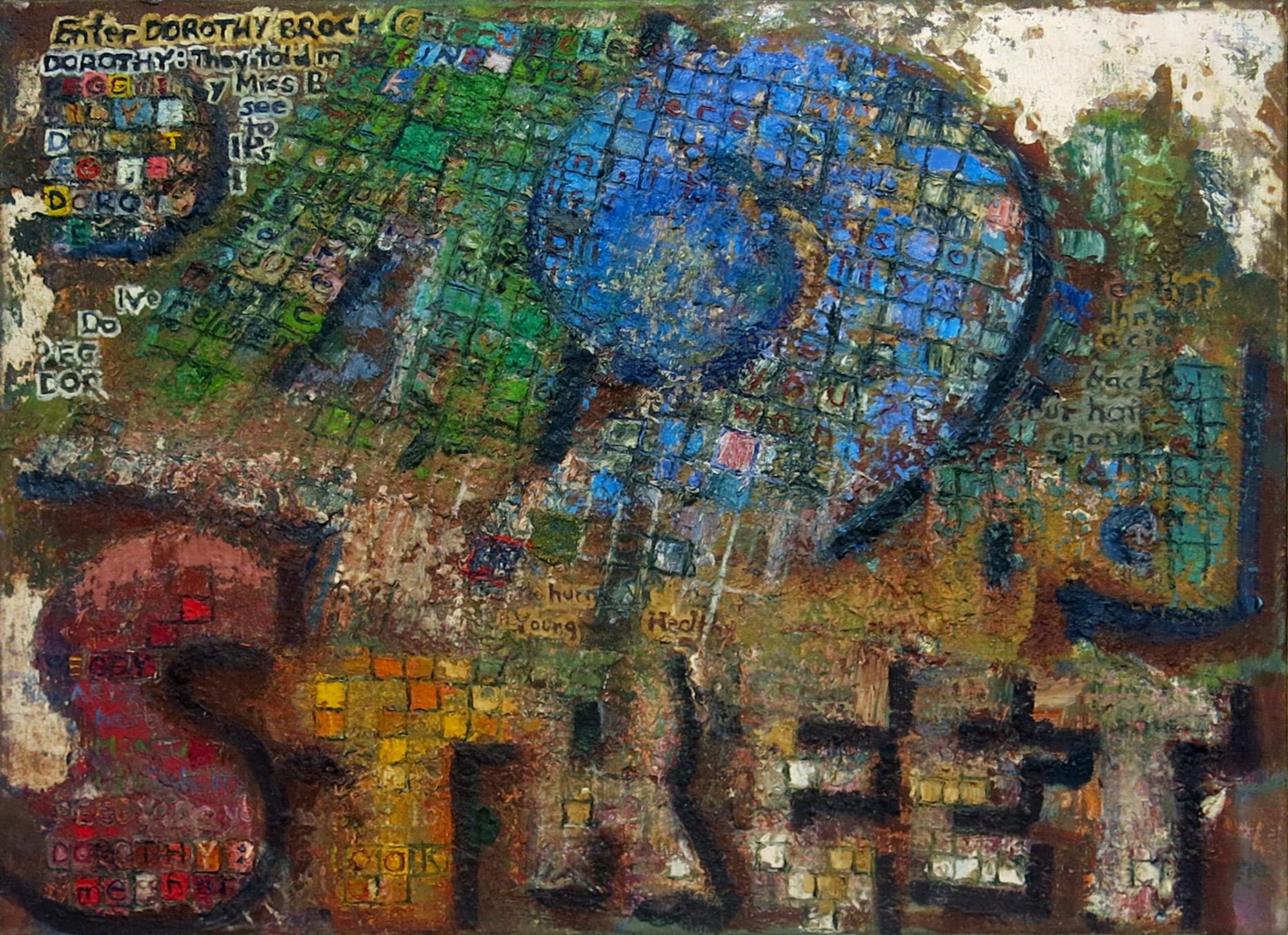 John Lees,  42nd Street (Tesserae) , 2015, oil on canvas, 24h x 32w in.