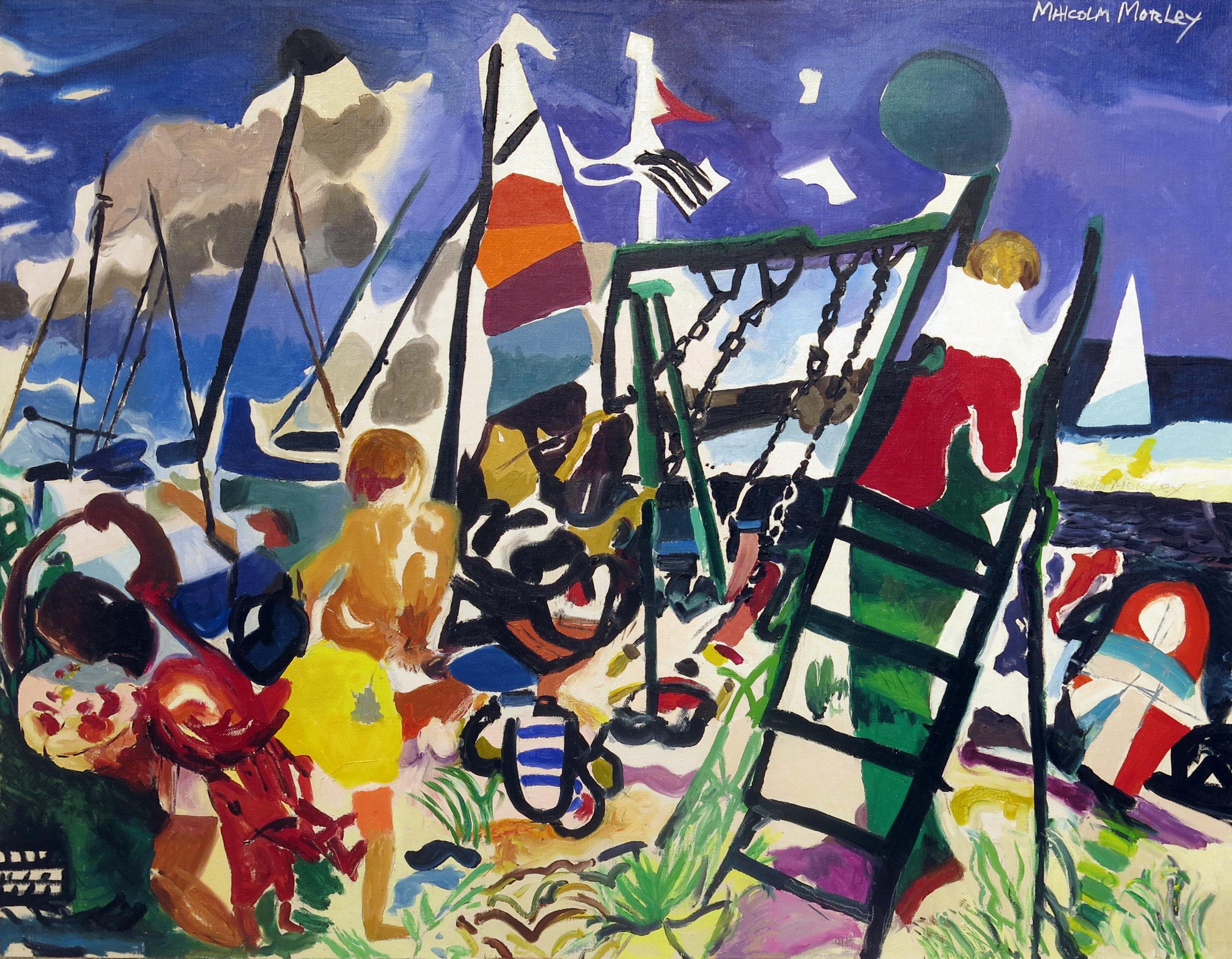 Malcolm Morley,  Bellport Swings,  1991, oil on canvas, 34 1/4h x 44 1/2w in.