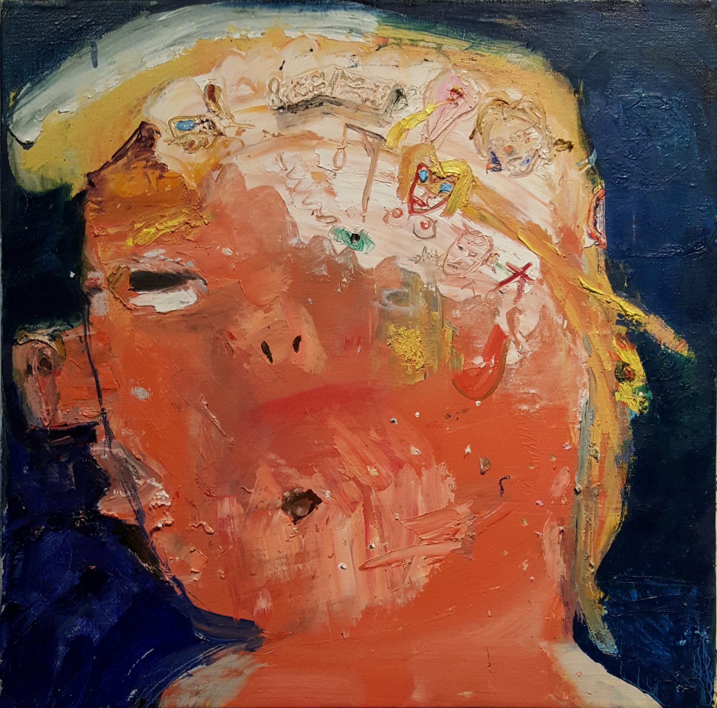 Matt Blackwell,  Internal Life (portrait of Donald Trump),  2017, oil on linen, 18h x 18w in.