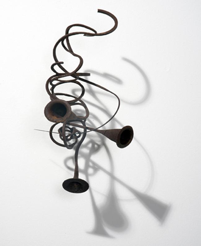 Markus Baenziger,  Steel Trumpet,  2014, steel, bronze, 17.5h x 7w x 10.25d in.