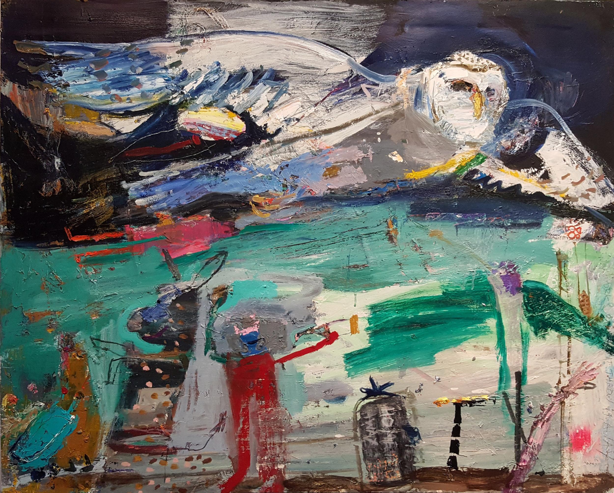 Matt Blackwell,  Owl,  Oil on paper on canvas, 30h x 40w in.