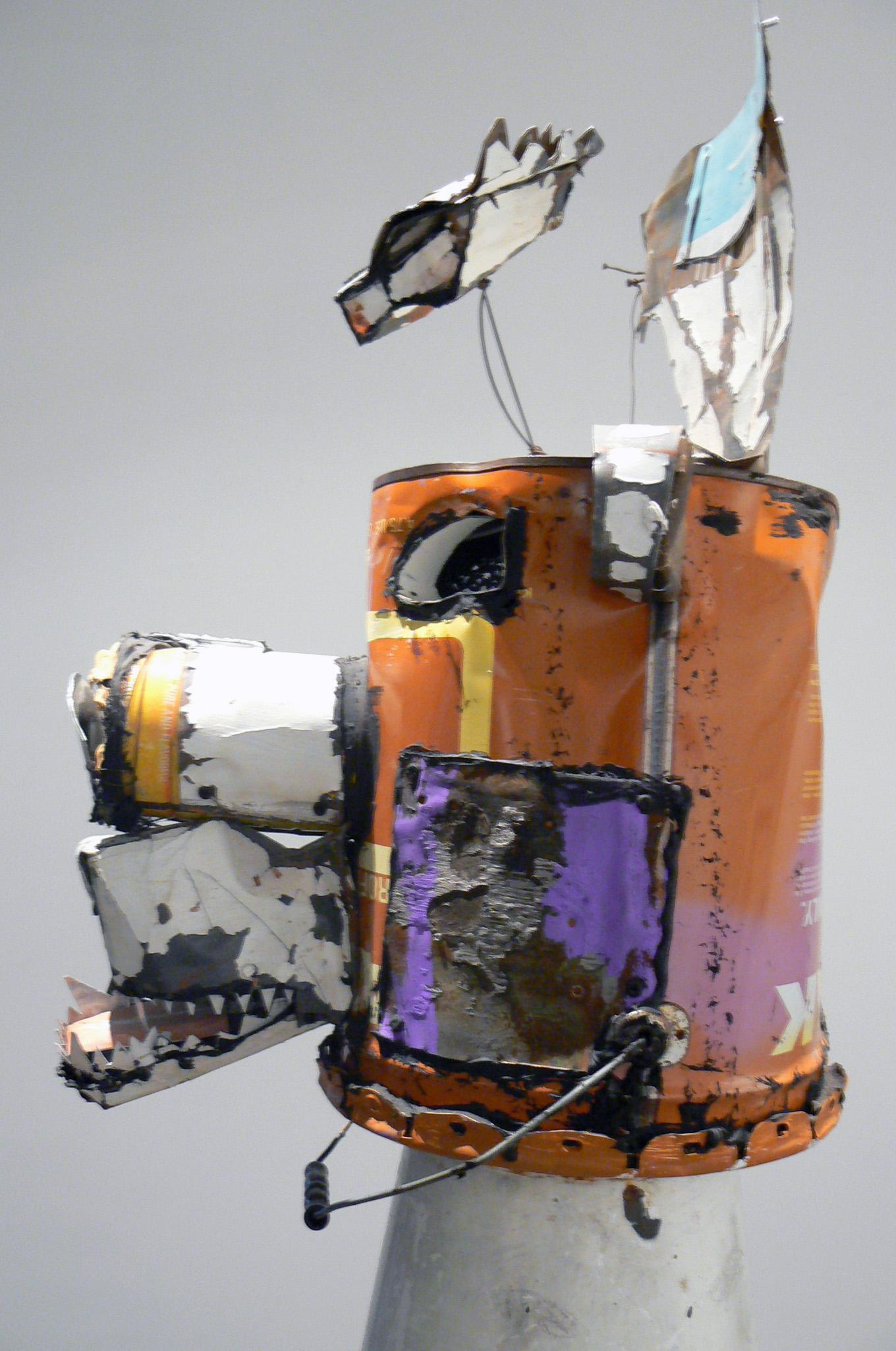 Matt Blackwell,  Bear Head III,  2011, Metal, ceiling tin, enamel, caulk, wire, 35h x 17w x 18d in.