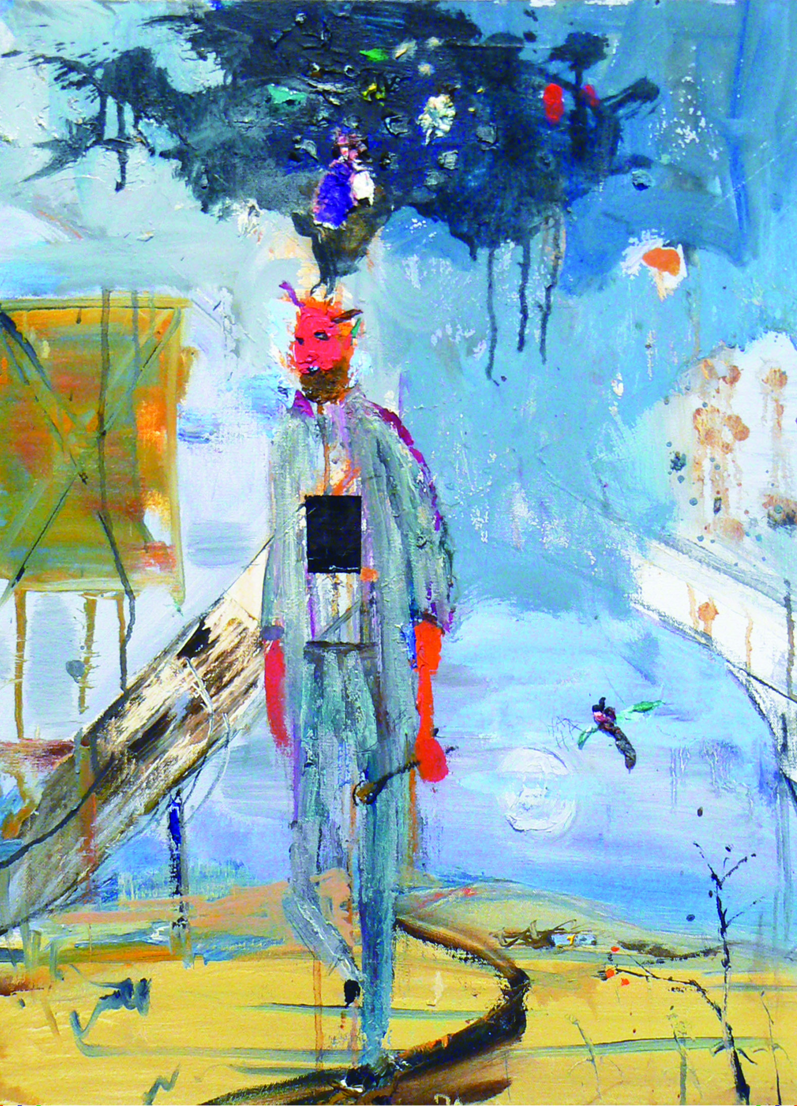 Matt Blackwell,  Lonesome Devil,  2012, Oil on canvas with collage, 25h x 21w in.