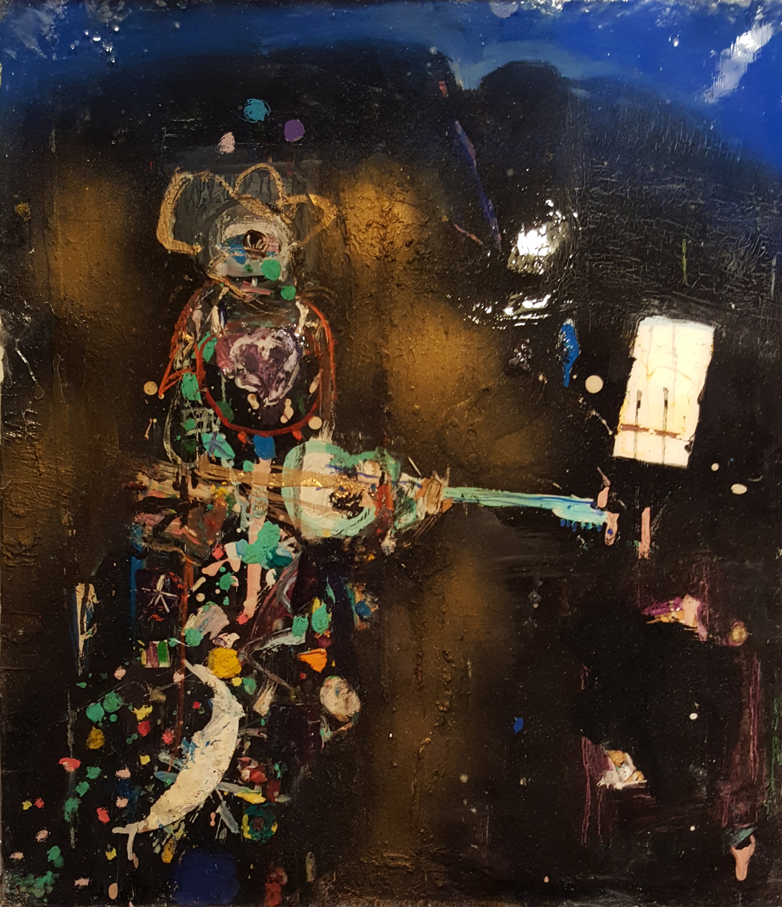 Matt Blackwell,  High and Lonesome,  2015, Mixed media on panel, resin, 18h x 16w in.
