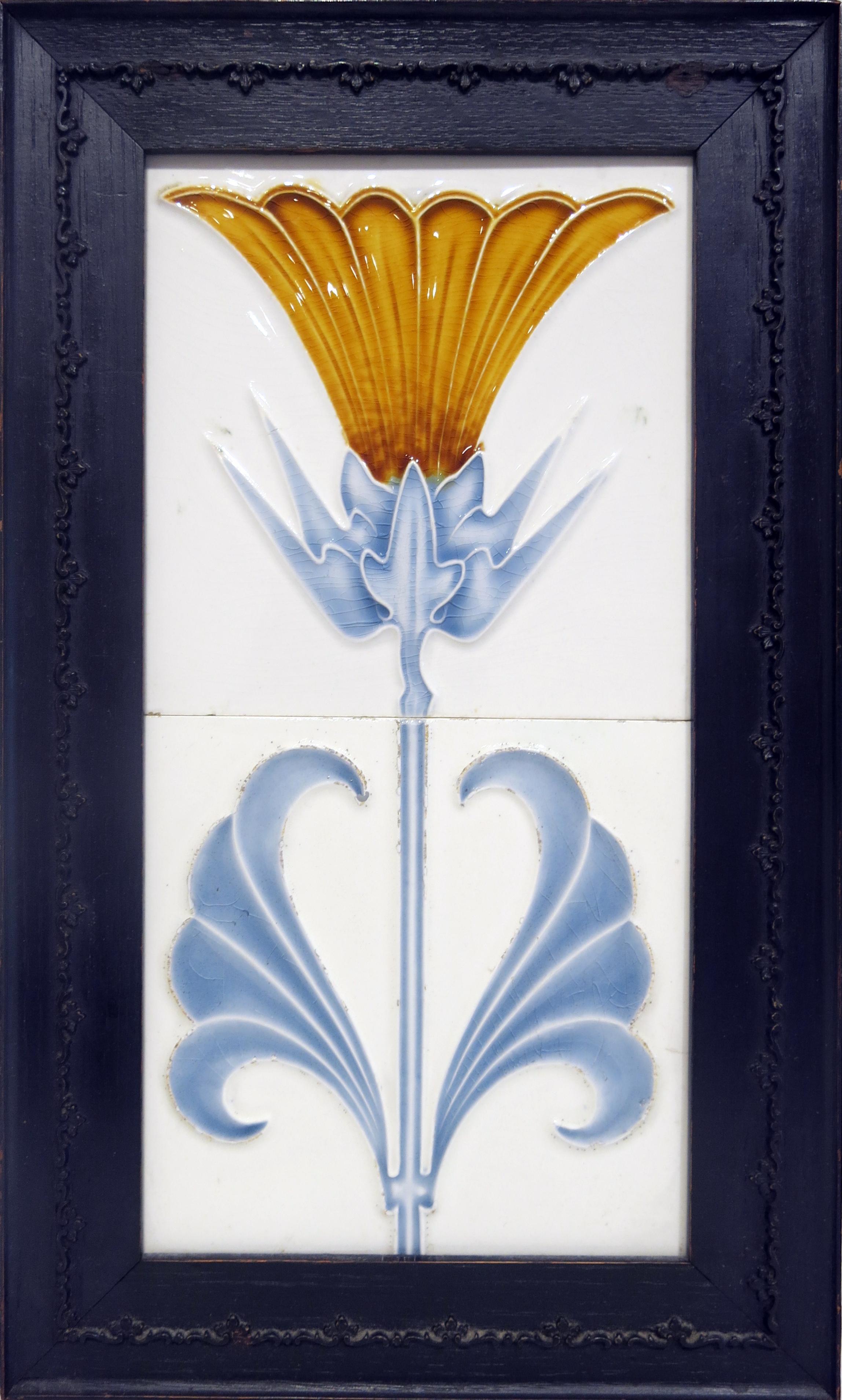 Anonymous,  Jugendstil Art Tile,  c. 1900, ceramic, 14 1/2h x 8 1/2w in.