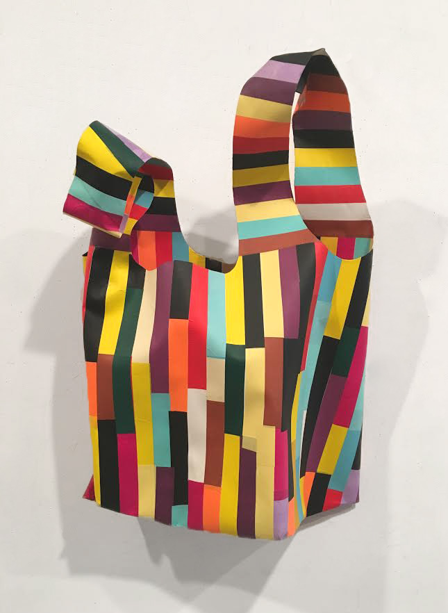 Billy Copley,  Tall Kitchen Bag,  2016, Hand painted paper collages on formed paper, 28 1/2h x 18w x 8d