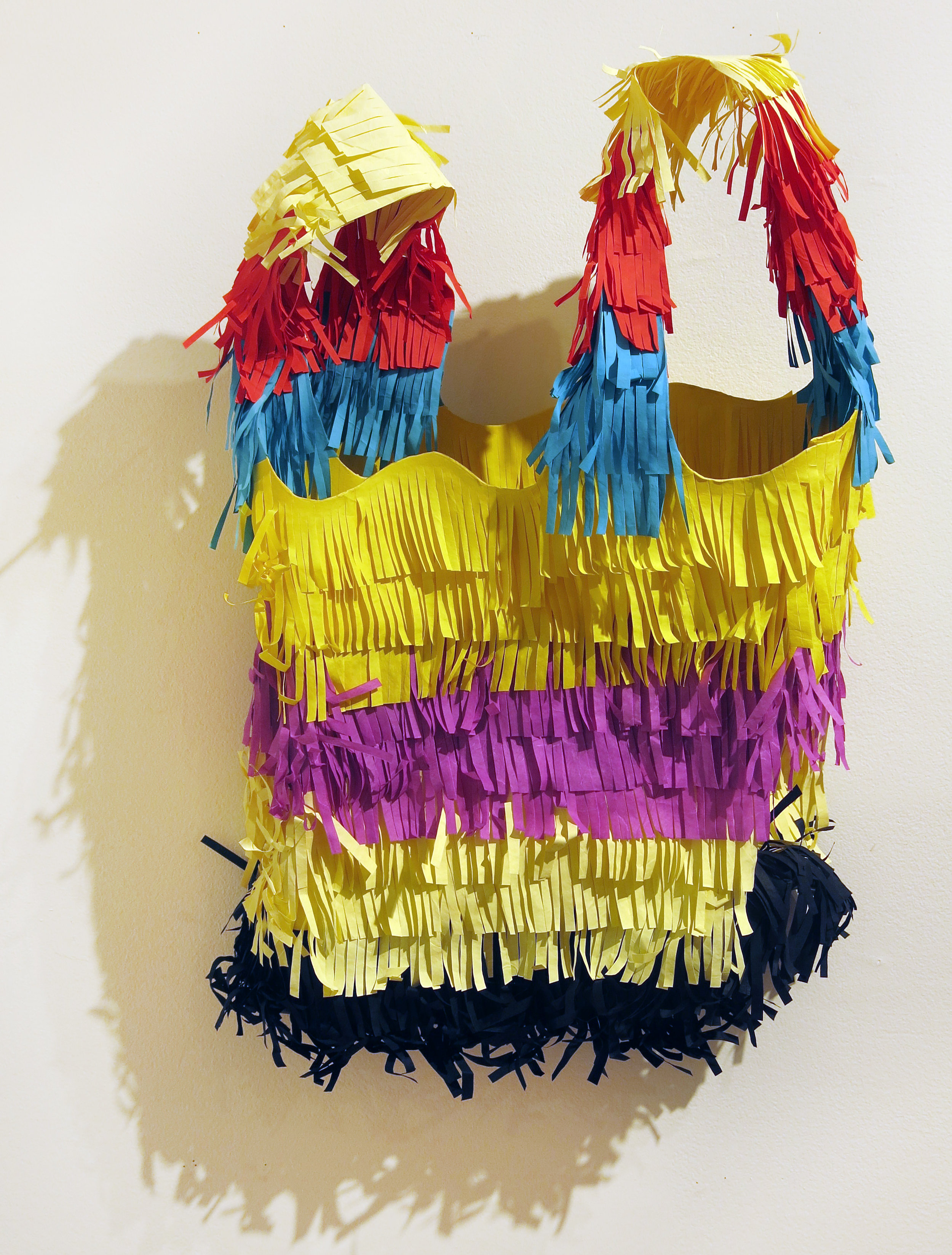 Billy Copley,  Large Piñata Bag (in Honor of Mexican Immigrant Appreciation Day),  2017, Hand painted paper collages on formed paper, 25h x 19w x 6d