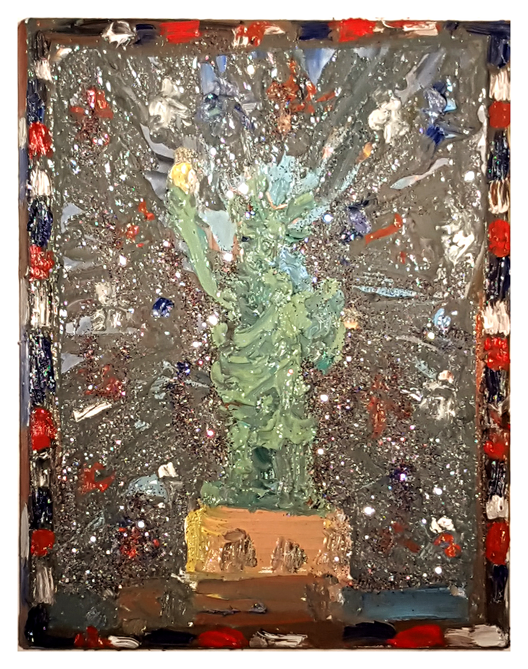 Farrell Brickhouse,  Liberty,  2016, Oil & glitter on canvas, 18h x12w in