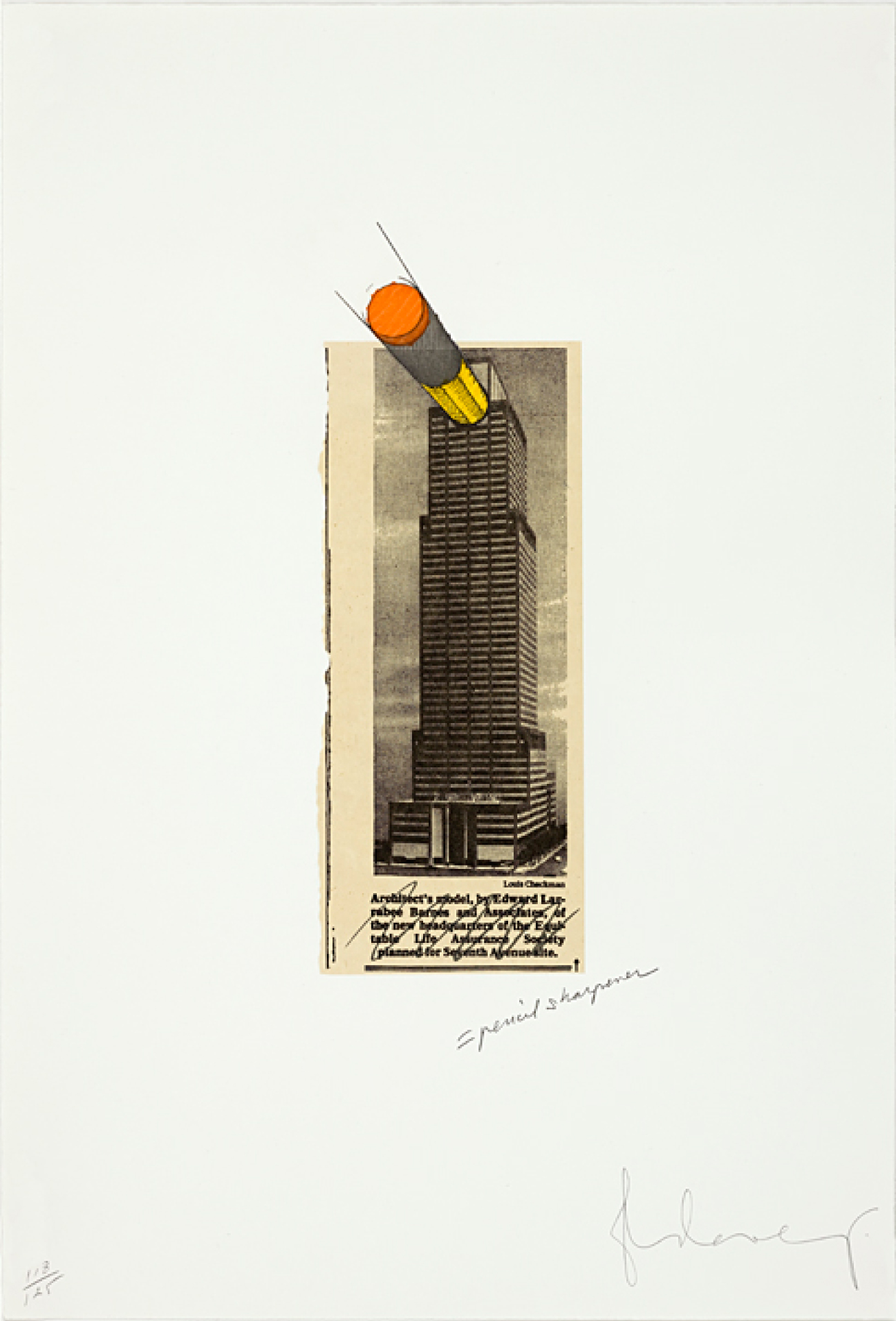 Claes Oldenburg, Equitable Building as a Pencil Sharpener, 1995, Self-ground etching, aquatint, and photographic, 21h x 14 1/4w in