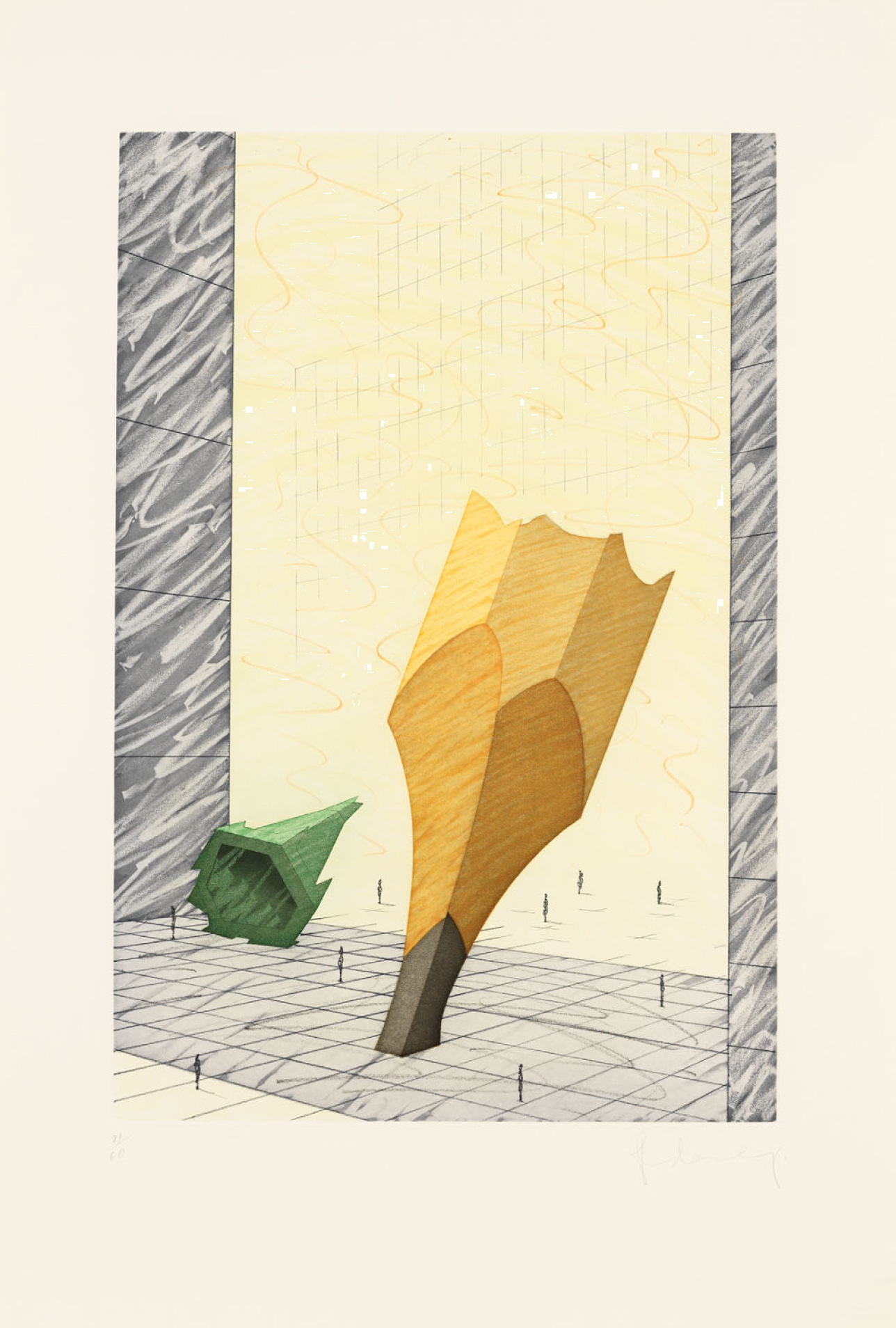 Claes Oldenburg, Proposal for a Colossal Monument in Downtown New York City: Sharpened Pencil, 1993, Etching with aquatint in eight colors, 32 3/4h x 22w in