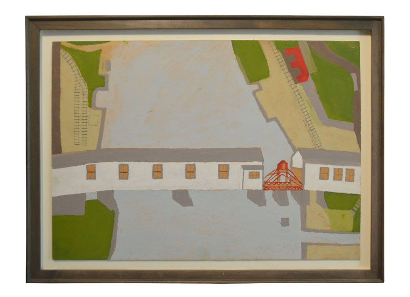 George E. Morgan, Old Covered Bridge Between Randolph & Gardiner, July, 1962, Oil on paper, 10h x 14w in