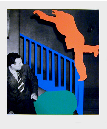 John Baldessari, Two Figures: One Leaping (Orange); One Reacting (With Blue & Green), 2005, Color lithograph with embossing and debossing, 22 5/8h x 18 3/8 w in