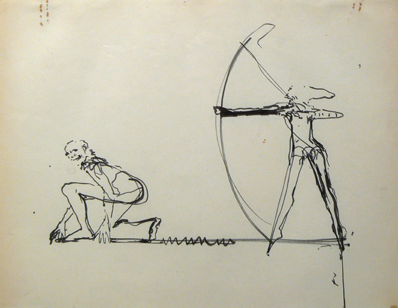 June Leaf, Artist Couple, 1978, Ink on Paper, 8.5h x 11w in
